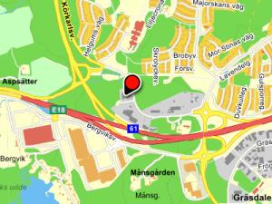 Karta till B&T bil, klicka för att öppna ett nytt fönster med karta och möjlighet att få vägbeskrivning.